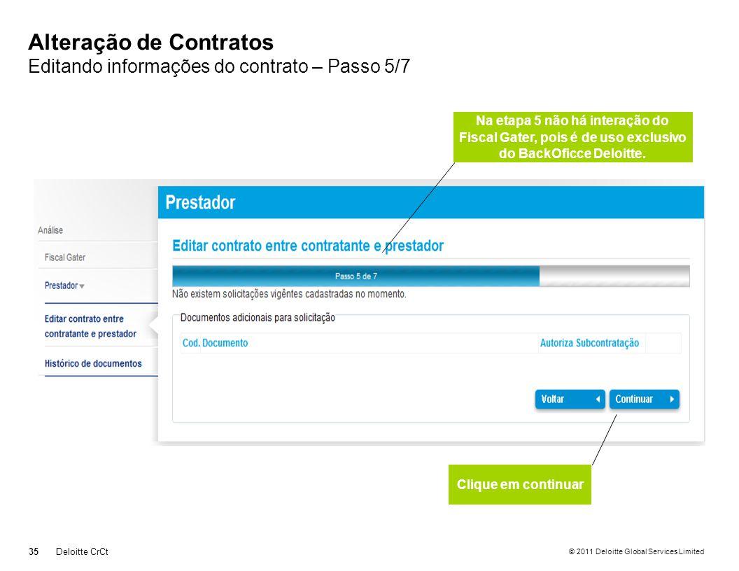 Alteração de Contratos Editando informações do contrato – Passo 5/7