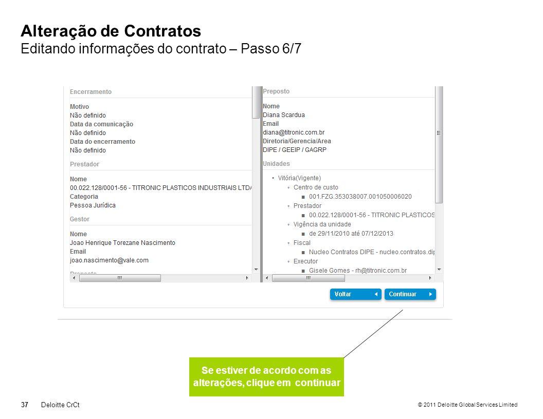 Alteração de Contratos Editando informações do contrato – Passo 6/7