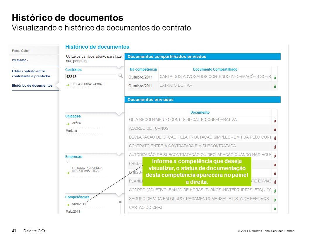 Histórico de documentos Visualizando o histórico de documentos do contrato