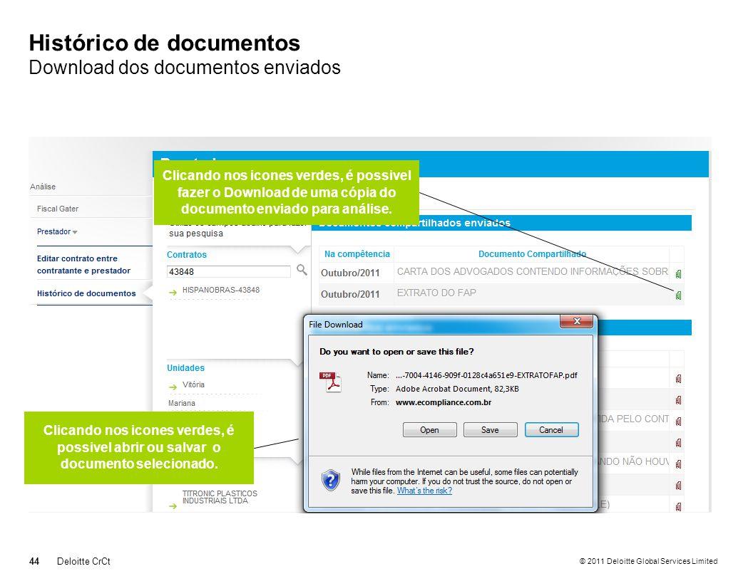 Histórico de documentos Download dos documentos enviados