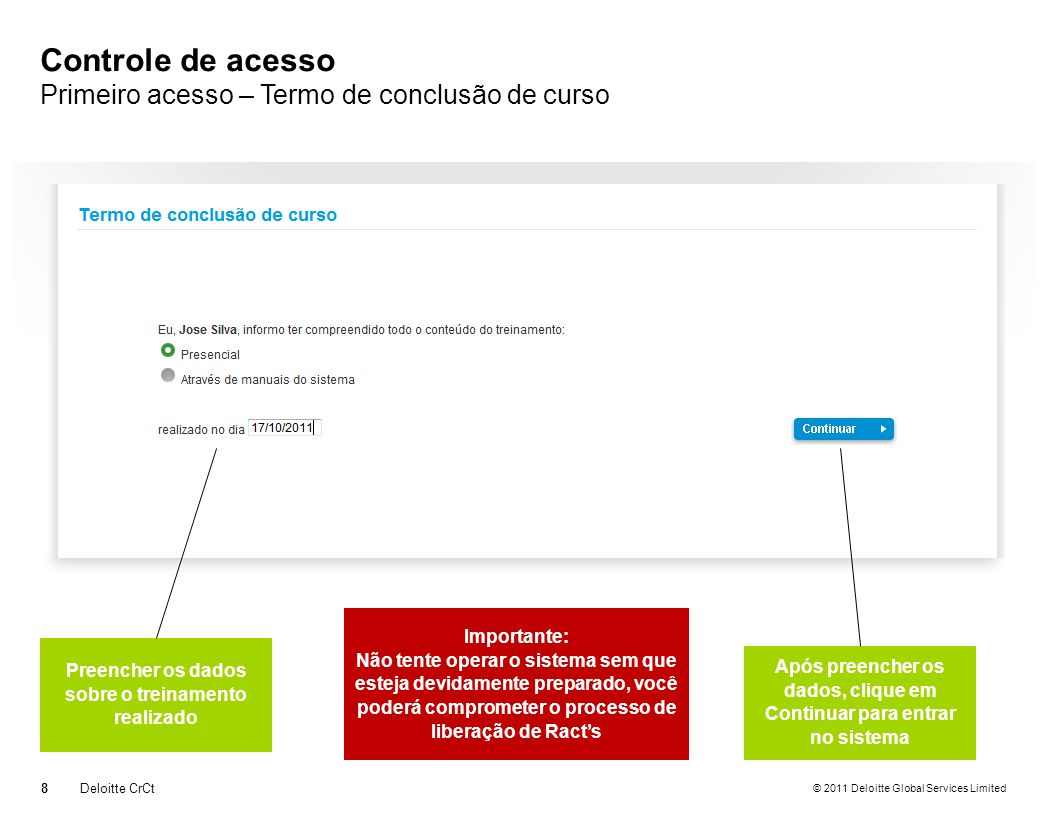 Controle de acesso Primeiro acesso – Termo de conclusão de curso