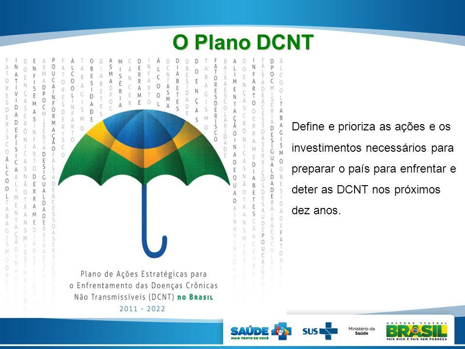 O Plano DCNT Define e prioriza as ações e os investimentos necessários para preparar o país para enfrentar e deter as DCNT nos próximos dez anos.