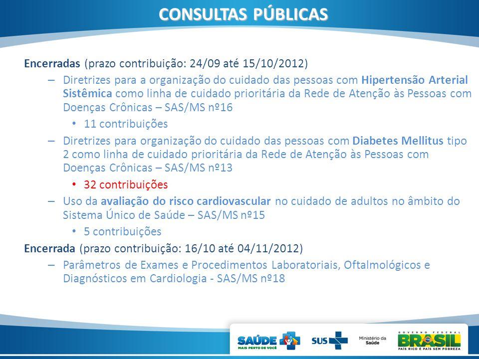 CONSULTAS PÚBLICAS Encerradas (prazo contribuição: 24/09 até 15/10/2012)