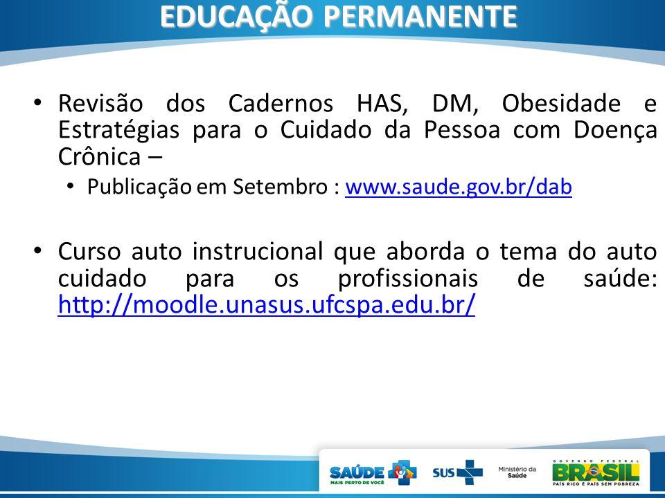 EDUCAÇÃO PERMANENTE Revisão dos Cadernos HAS, DM, Obesidade e Estratégias para o Cuidado da Pessoa com Doença Crônica –