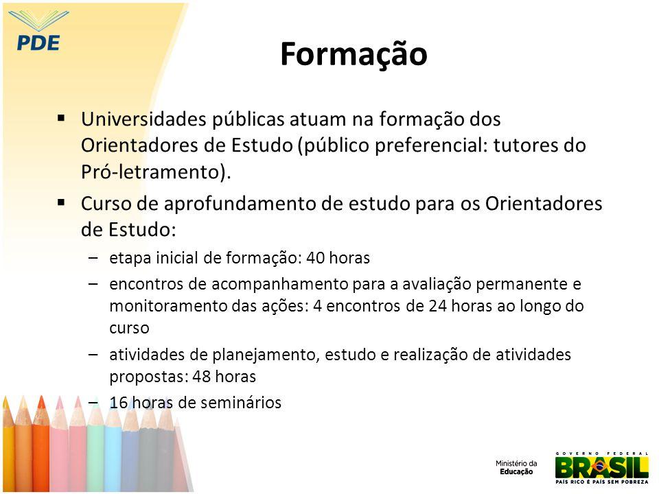 Formação Universidades públicas atuam na formação dos Orientadores de Estudo (público preferencial: tutores do Pró-letramento).
