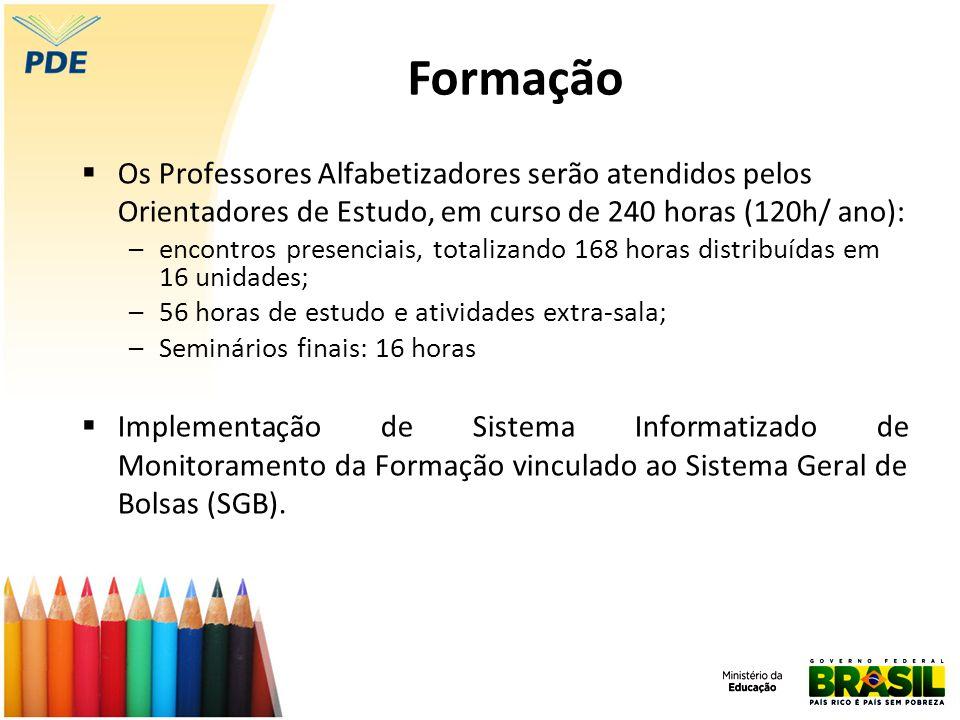 Formação Os Professores Alfabetizadores serão atendidos pelos Orientadores de Estudo, em curso de 240 horas (120h/ ano):
