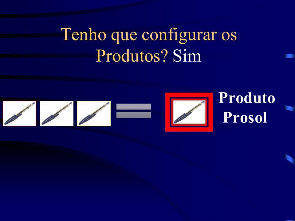 Tenho que configurar os Produtos Sim