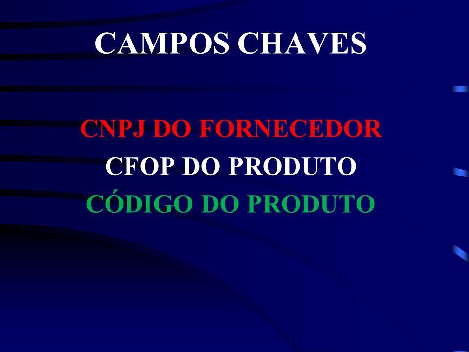 CAMPOS CHAVES CNPJ DO FORNECEDOR CFOP DO PRODUTO CÓDIGO DO PRODUTO