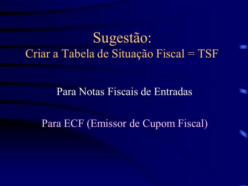 Sugestão: Criar a Tabela de Situação Fiscal = TSF