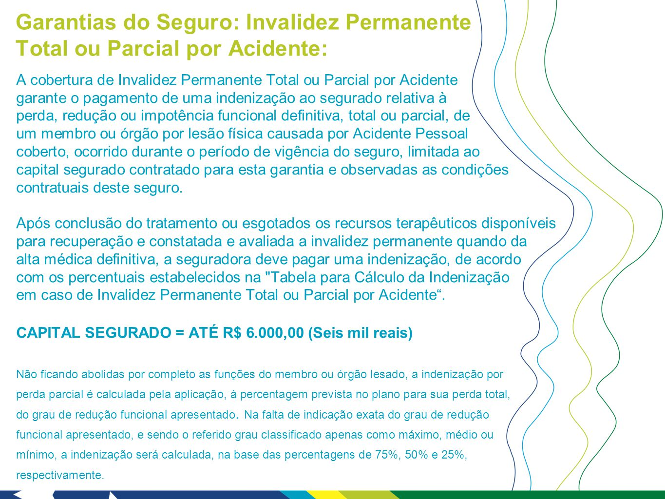 Garantias do Seguro: Invalidez Permanente Total ou Parcial por Acidente: