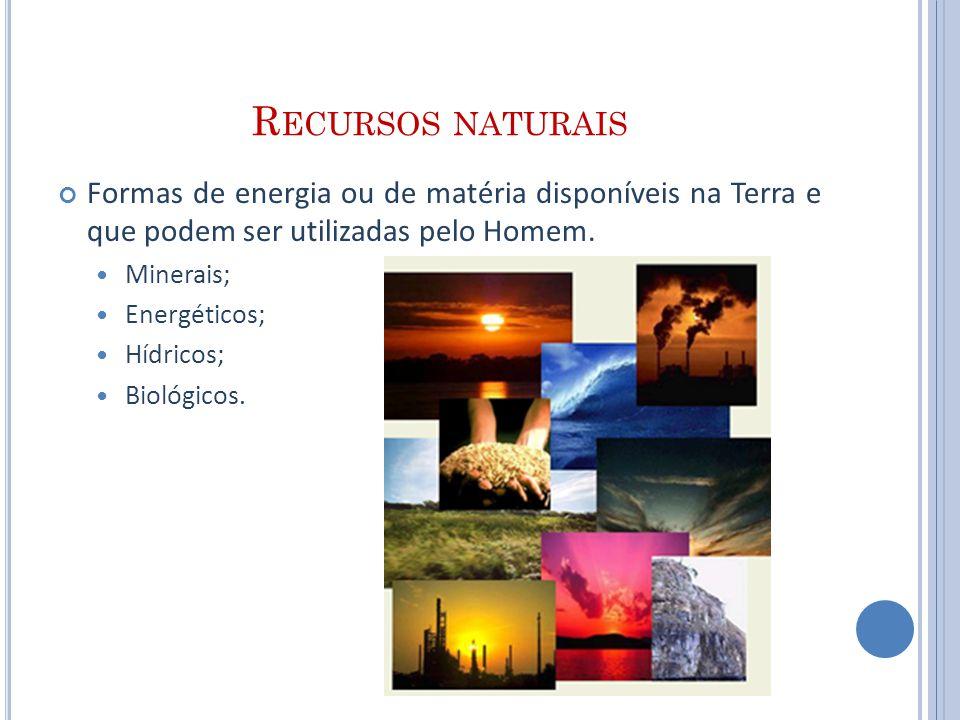 Recursos naturais Formas de energia ou de matéria disponíveis na Terra e que podem ser utilizadas pelo Homem.