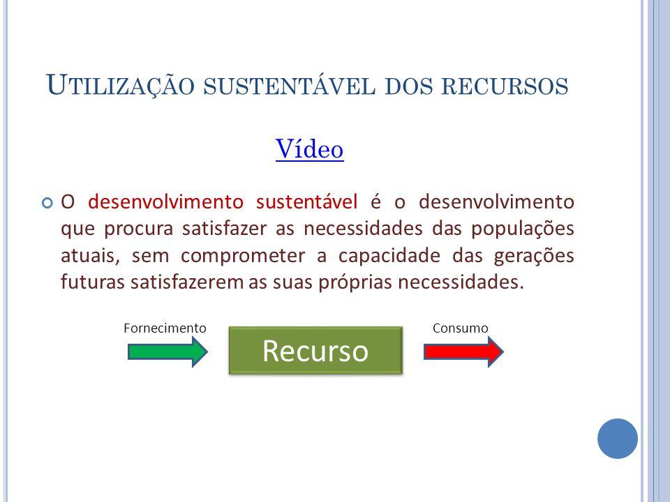Utilização sustentável dos recursos