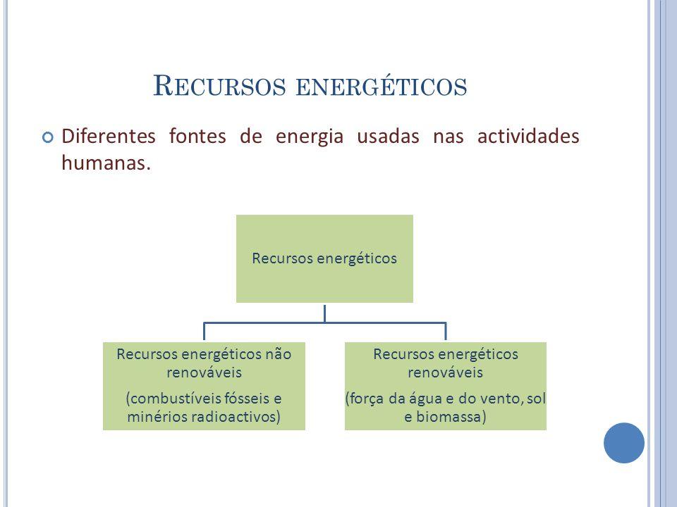 Recursos energéticos Diferentes fontes de energia usadas nas actividades humanas. Recursos energéticos.