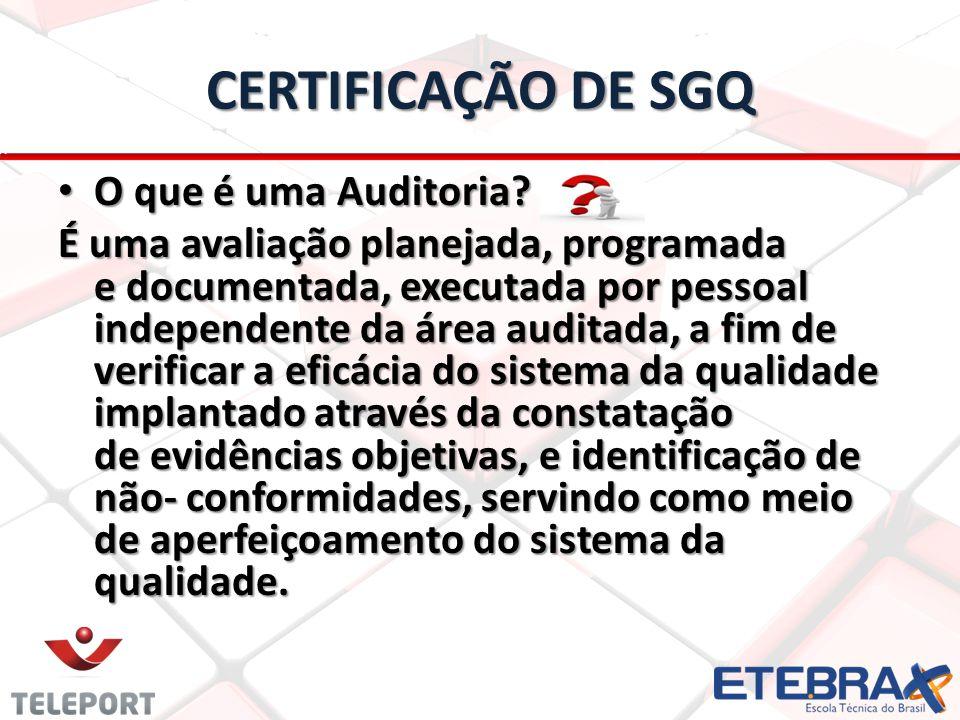 CERTIFICAÇÃO DE SGQ O que é uma Auditoria