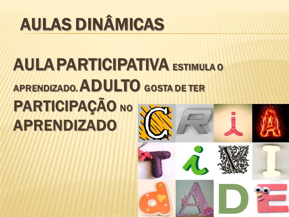 Aulas Dinâmicas Aula PARTICIPATIVA ESTIMULA O APRENDIZADO.