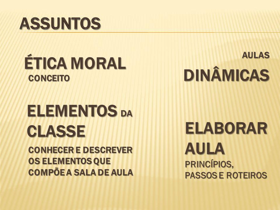 ASSUNTOS ÉTICA Moral dinâmicas Elementos da classe Elaborar