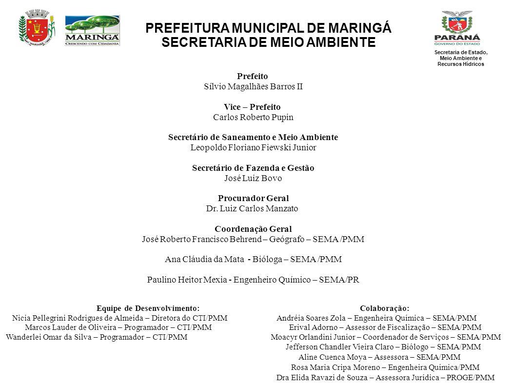 PREFEITURA MUNICIPAL DE MARINGÁ SECRETARIA DE MEIO AMBIENTE