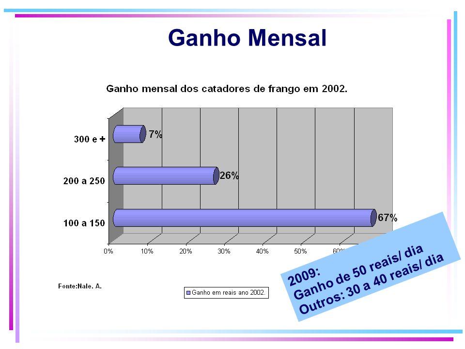 Ganho Mensal Ganho de 50 reais/ dia Outros: 30 a 40 reais/ dia 2009: