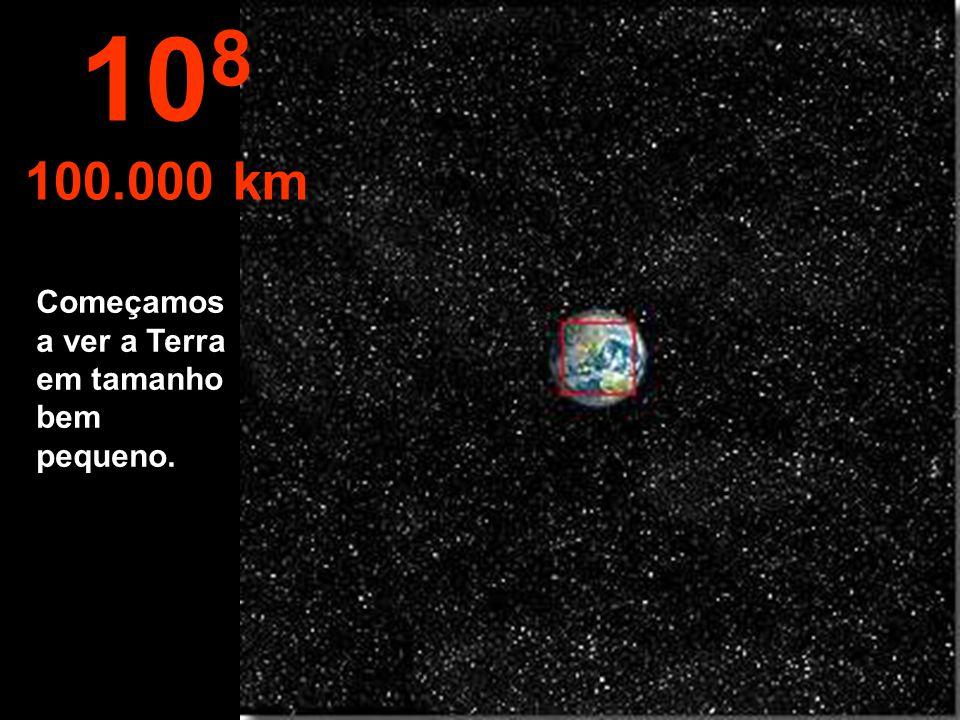 108 100.000 km Começamos a ver a Terra em tamanho bem pequeno.