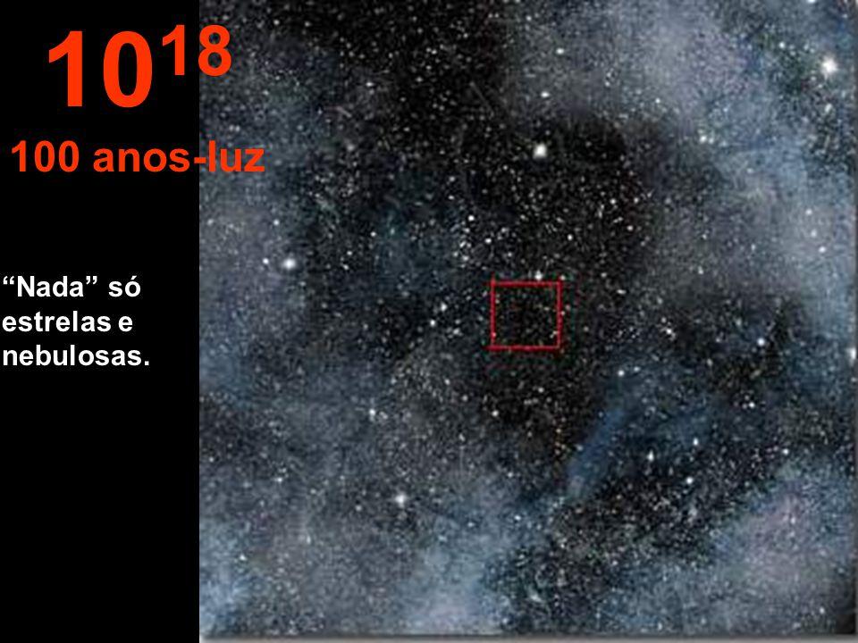 1018 100 anos-luz Nada só estrelas e nebulosas.