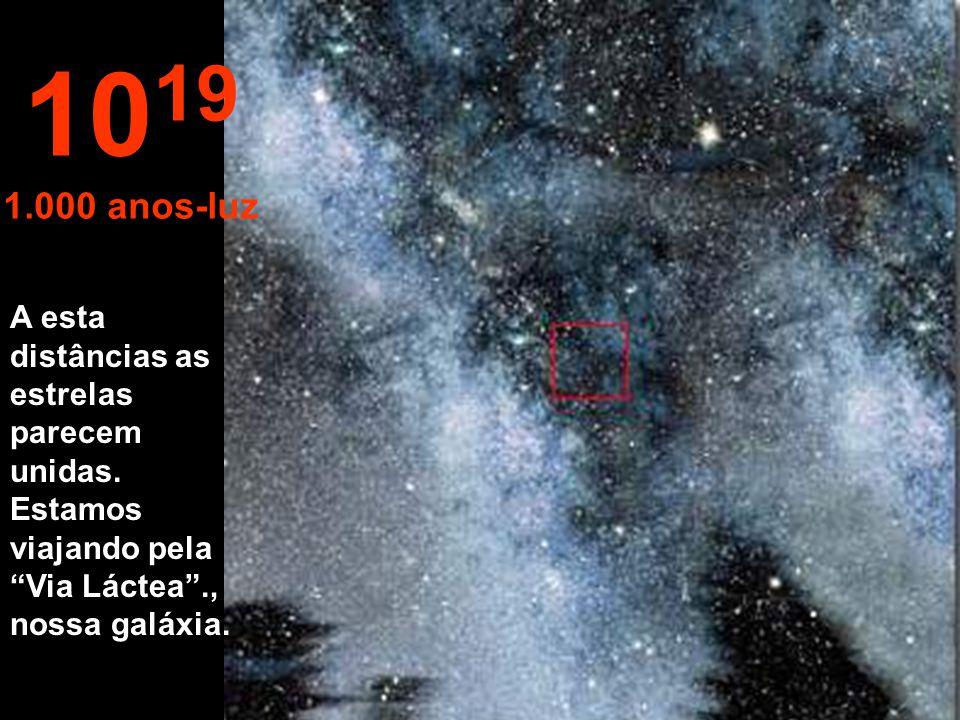 1019 1.000 anos-luz. A esta distâncias as estrelas parecem unidas.