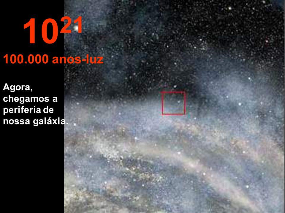 1021 100.000 anos-luz Agora, chegamos a periferia de nossa galáxia.