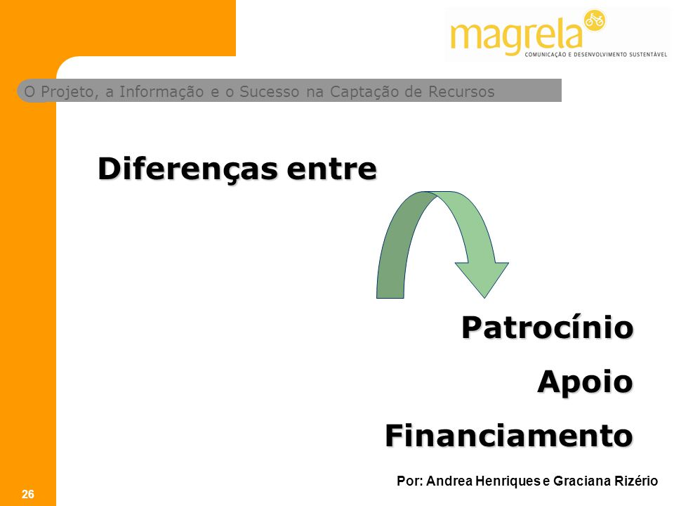 Diferenças entre Patrocínio Apoio Financiamento