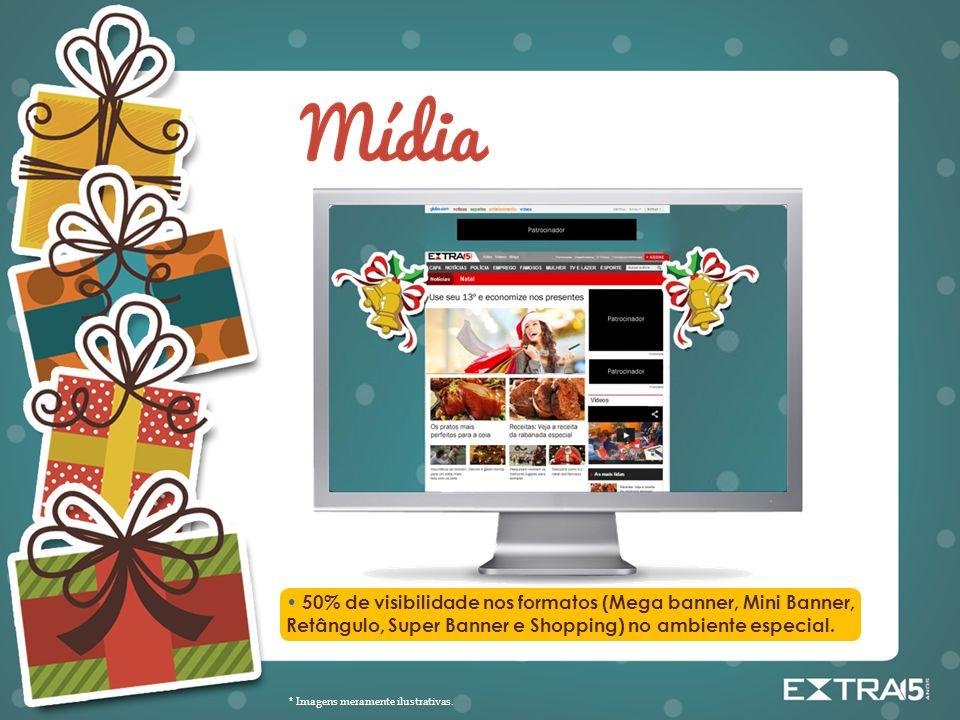 • 50% de visibilidade nos formatos (Mega banner, Mini Banner, Retângulo, Super Banner e Shopping) no ambiente especial.