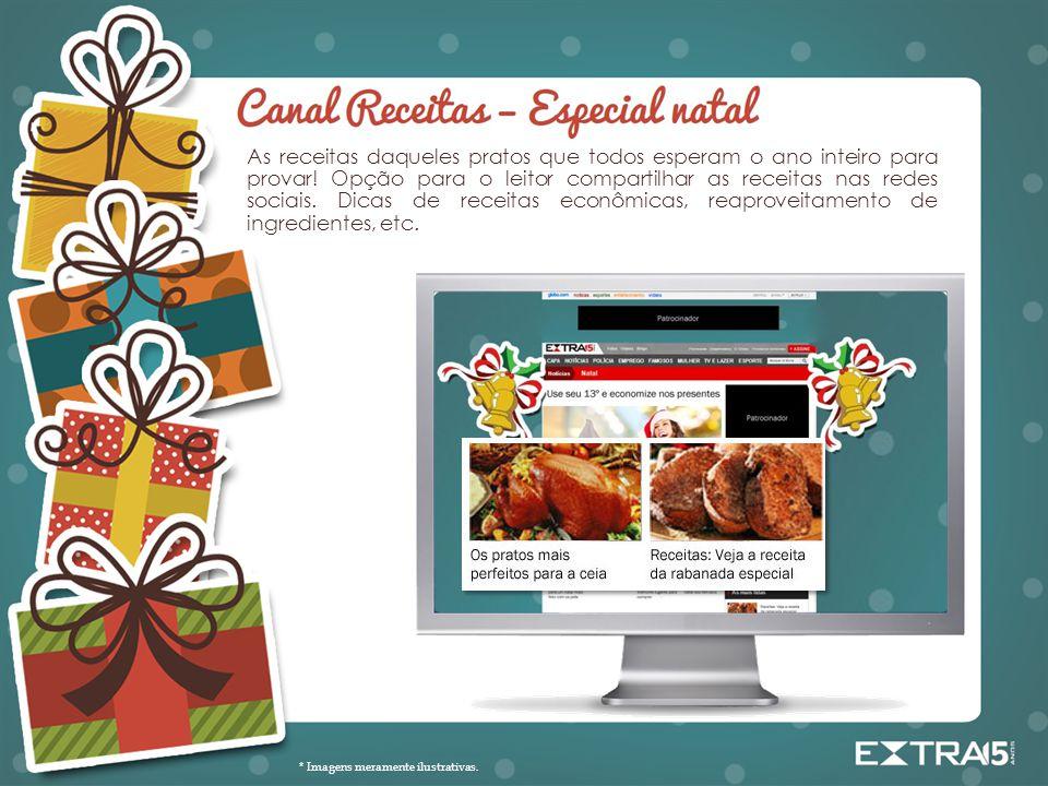 As receitas daqueles pratos que todos esperam o ano inteiro para provar! Opção para o leitor compartilhar as receitas nas redes sociais. Dicas de receitas econômicas, reaproveitamento de ingredientes, etc.