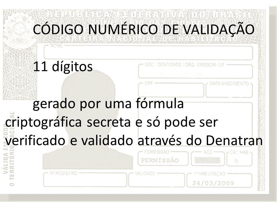 CÓDIGO NUMÉRICO DE VALIDAÇÃO