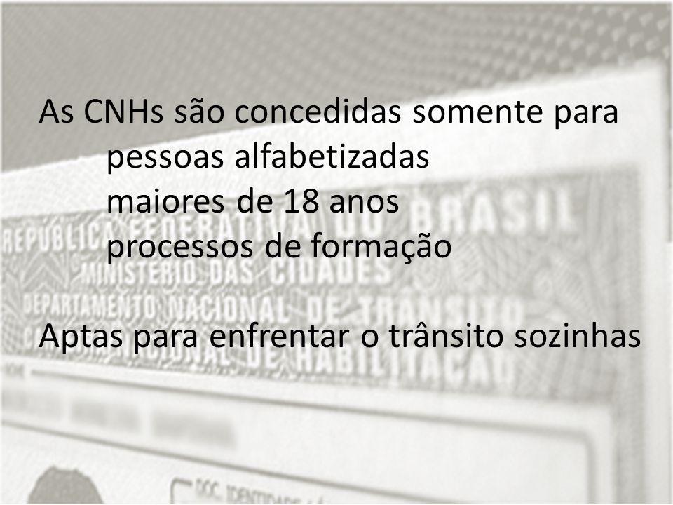 As CNHs são concedidas somente para pessoas alfabetizadas