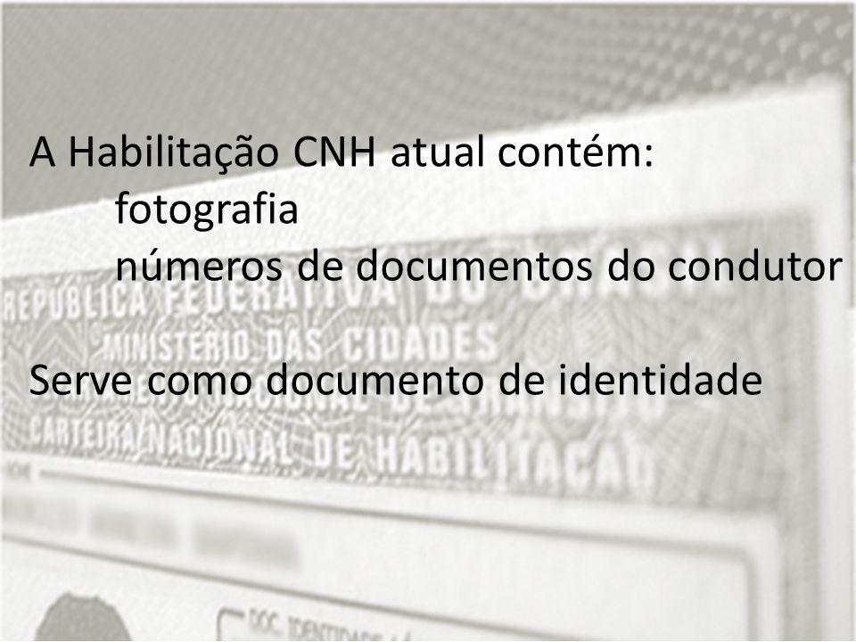 A Habilitação CNH atual contém: fotografia