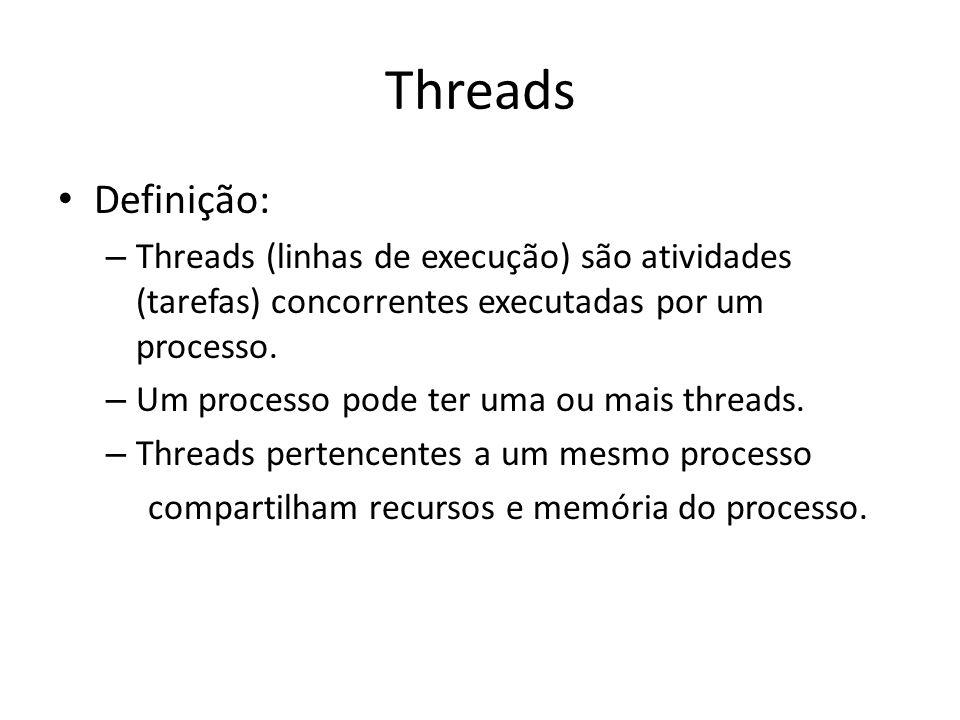 Threads Definição: Threads (linhas de execução) são atividades (tarefas) concorrentes executadas por um processo.