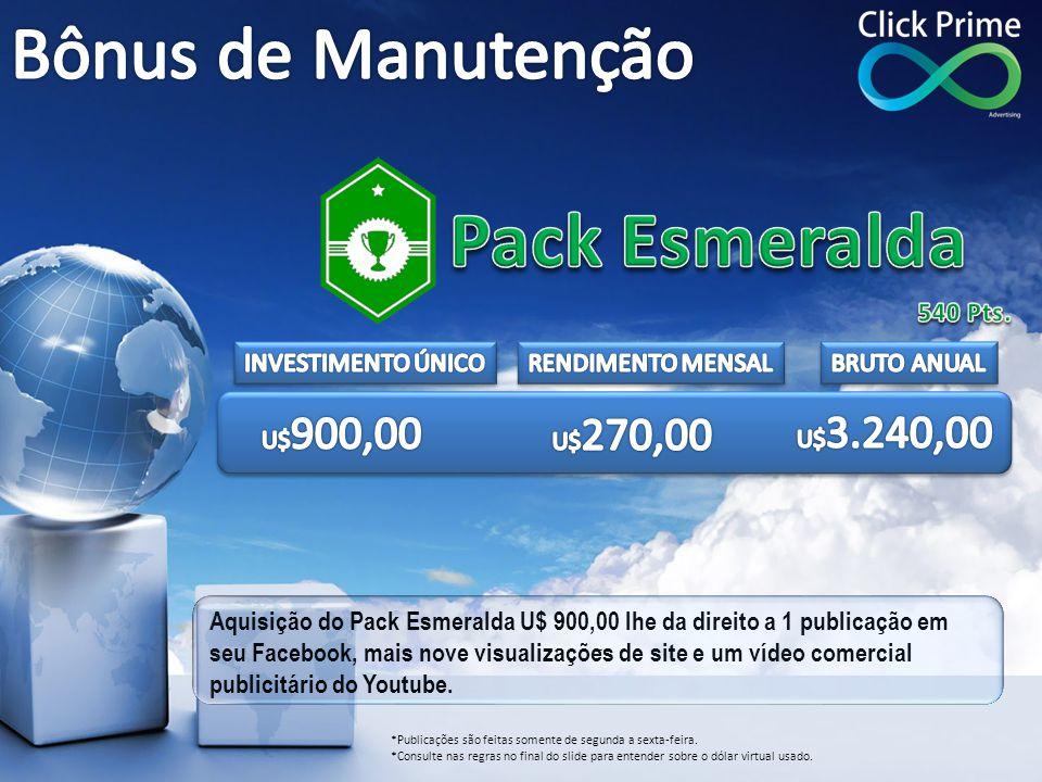 Pack Esmeralda Bônus de Manutenção 540 Pts. INVESTIMENTO ÚNICO
