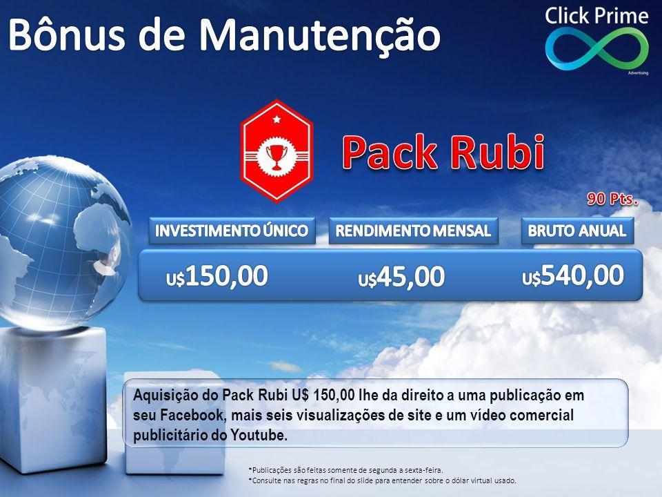 Pack Rubi Bônus de Manutenção 90 Pts. INVESTIMENTO ÚNICO