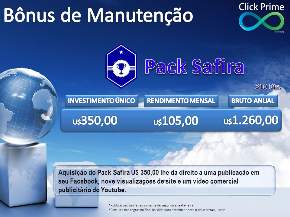 Pack Safira Bônus de Manutenção 210 Pts. INVESTIMENTO ÚNICO