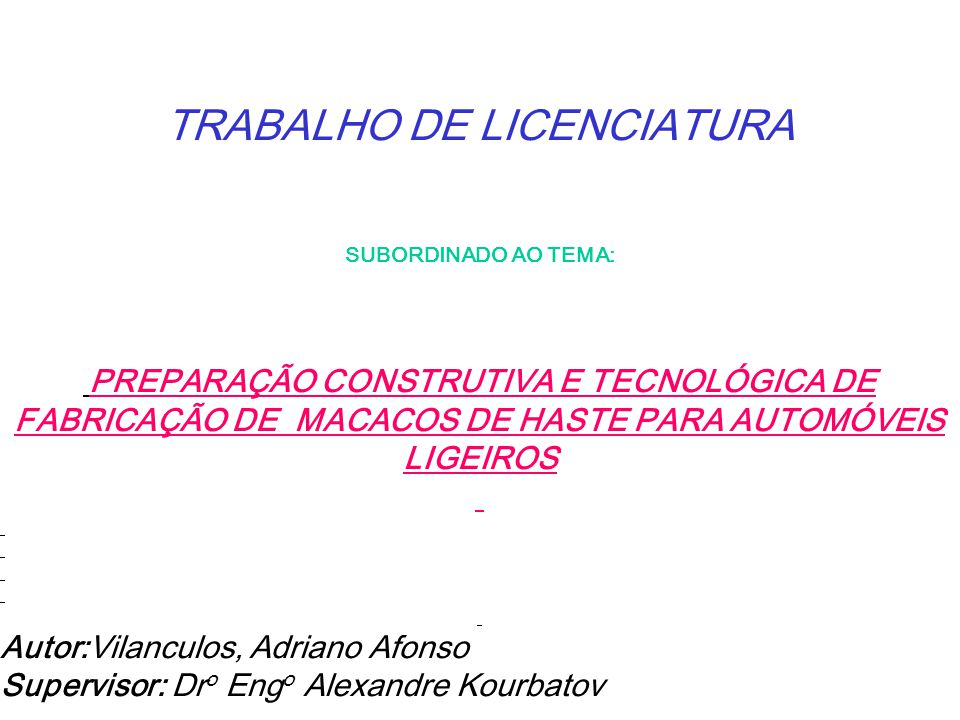 TRABALHO DE LICENCIATURA