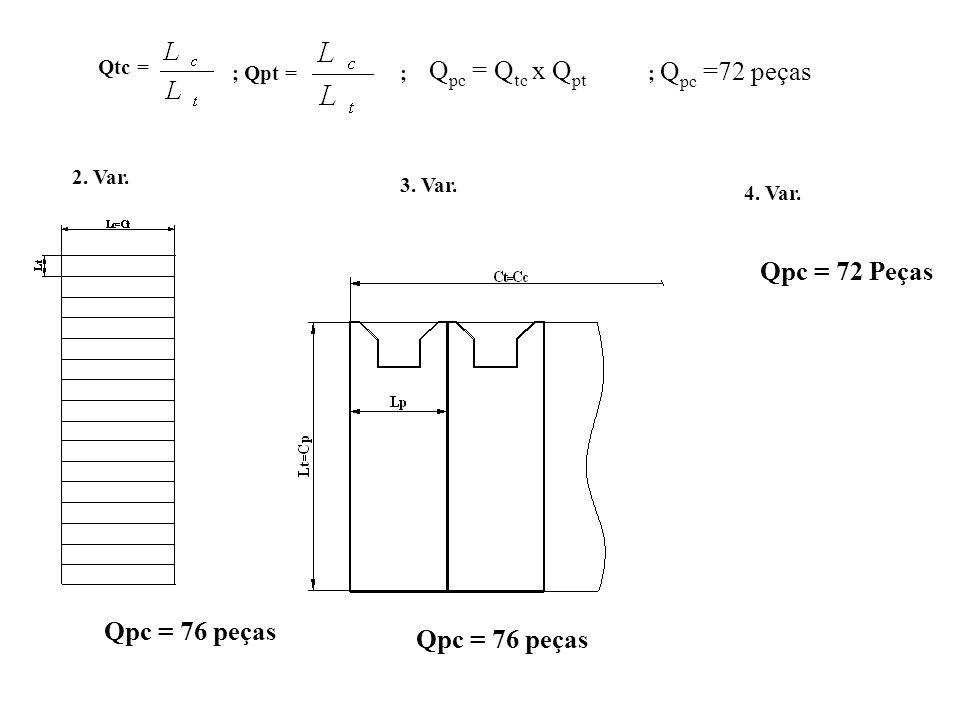 Qpc = 72 Peças Qpc = 76 peças Qpc = 76 peças Qtc = Qpc = Qtc x Qpt