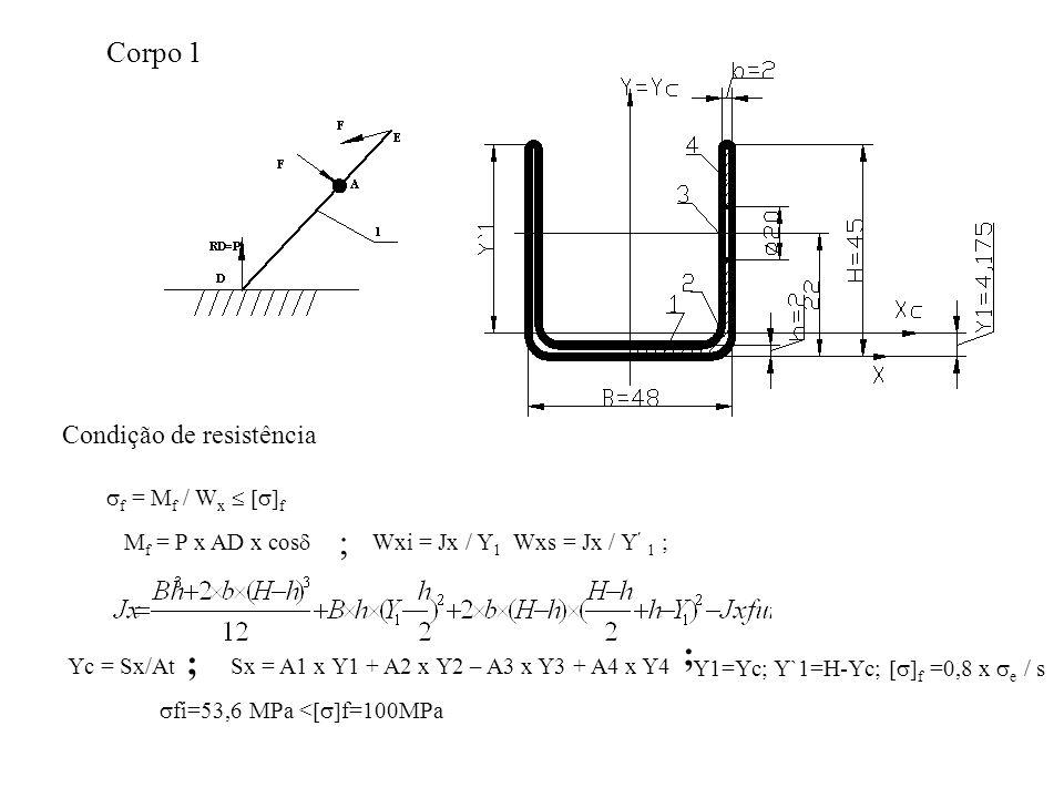 ; ; ; Corpo 1 Condição de resistência f = Mf / Wx  f