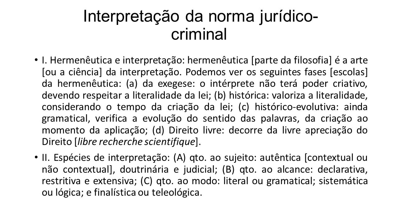 Interpretação da norma jurídico-criminal