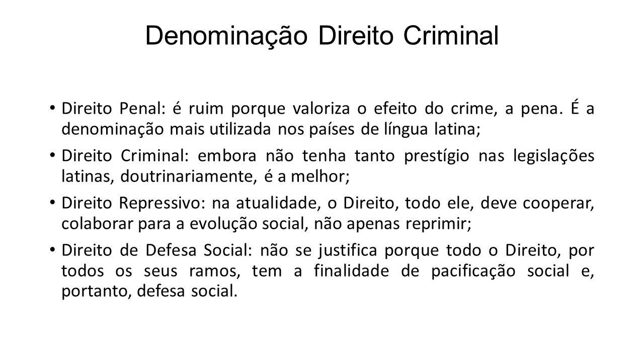 Denominação Direito Criminal