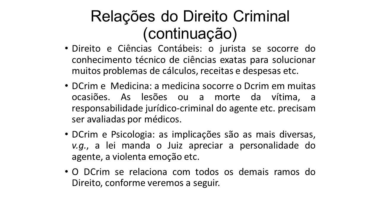 Relações do Direito Criminal (continuação)