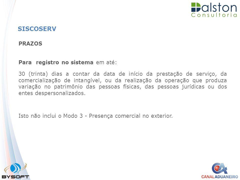 SISCOSERV PRAZOS Para registro no sistema em até: