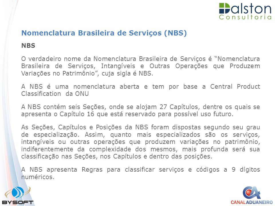 Nomenclatura Brasileira de Serviços (NBS)