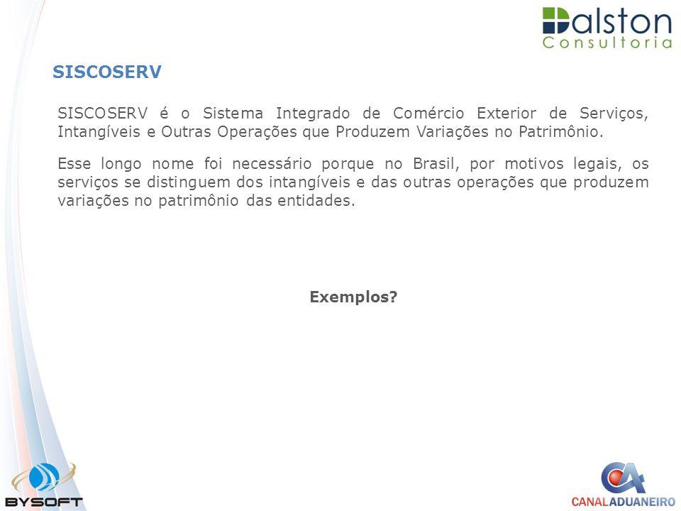 SISCOSERV SISCOSERV é o Sistema Integrado de Comércio Exterior de Serviços, Intangíveis e Outras Operações que Produzem Variações no Patrimônio.