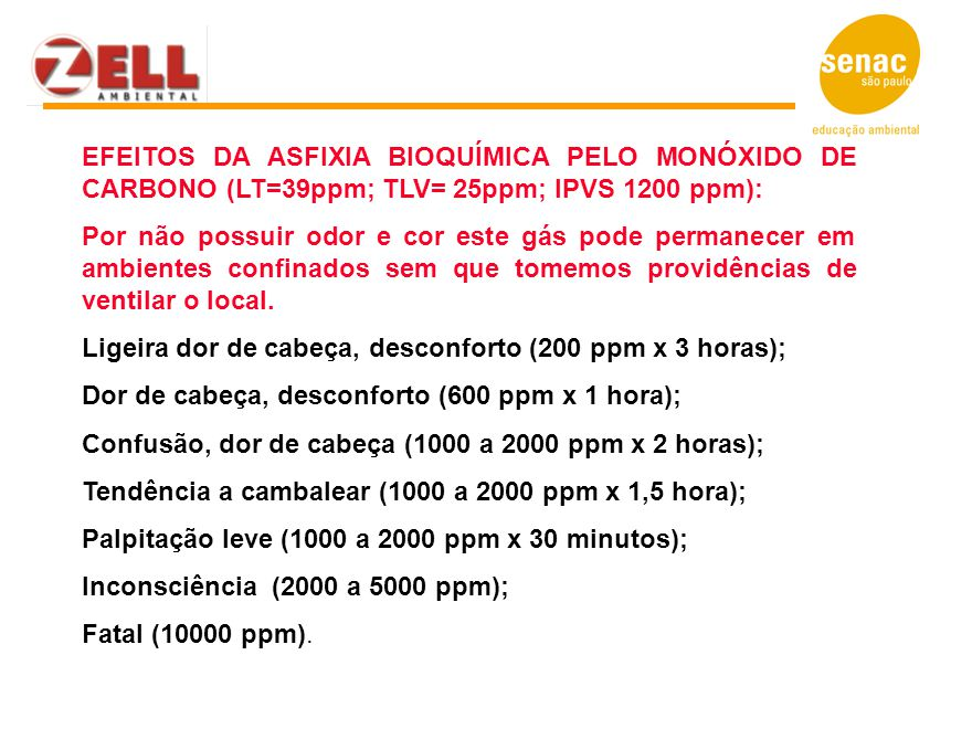 EFEITOS DA ASFIXIA BIOQUÍMICA PELO MONÓXIDO DE CARBONO (LT=39ppm; TLV= 25ppm; IPVS 1200 ppm):