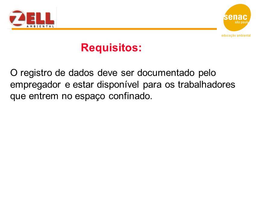 Requisitos: O registro de dados deve ser documentado pelo empregador e estar disponível para os trabalhadores que entrem no espaço confinado.