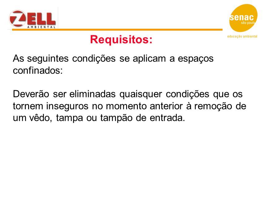 Requisitos: As seguintes condições se aplicam a espaços confinados: