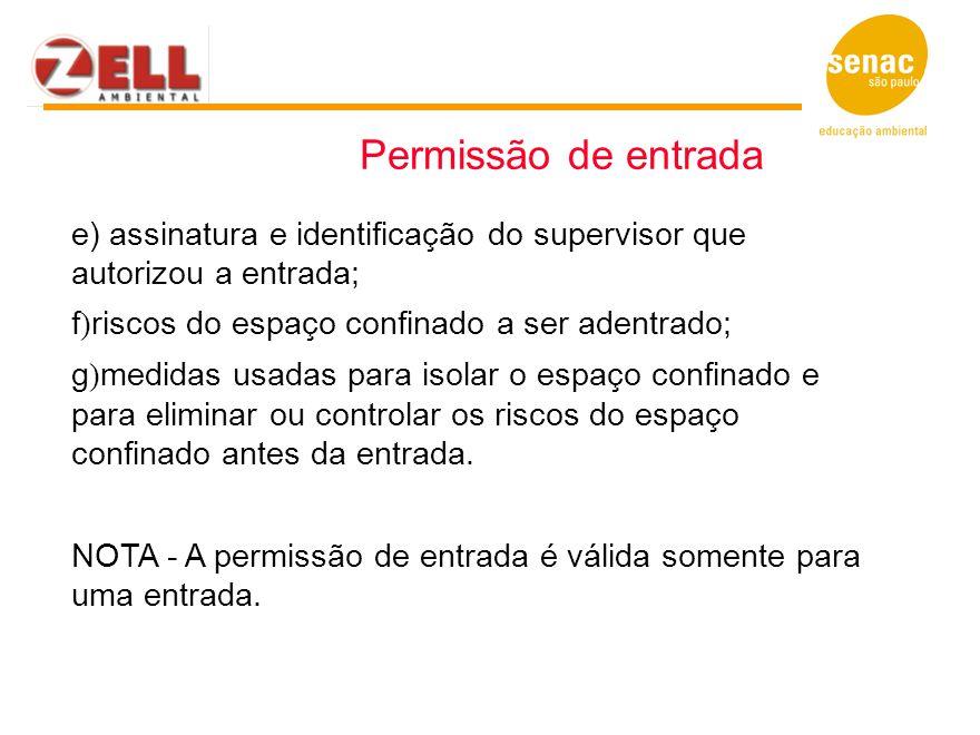 Permissão de entrada e) assinatura e identificação do supervisor que autorizou a entrada; f)riscos do espaço confinado a ser adentrado;