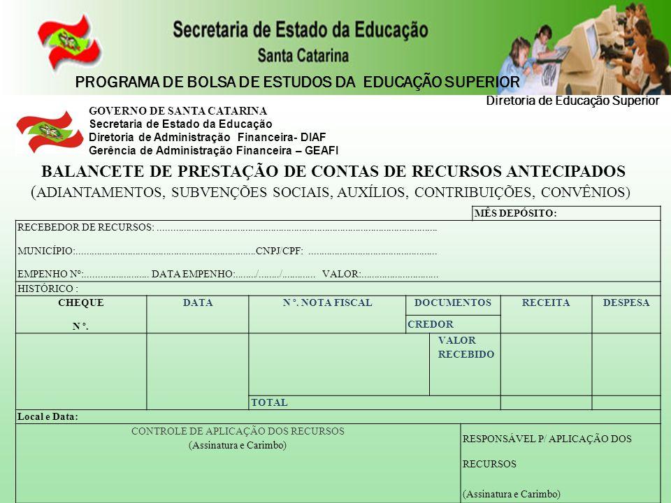 BALANCETE DE PRESTAÇÃO DE CONTAS DE RECURSOS ANTECIPADOS